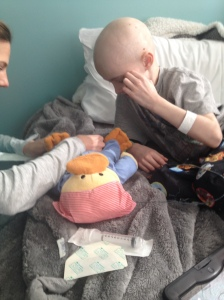 Practicing tube insertion on poor Chemo Duck